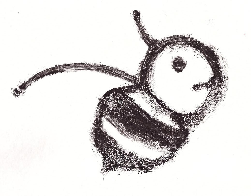 Zīmējumā ir attēlota bite. Zīmējums ir melnbalts.