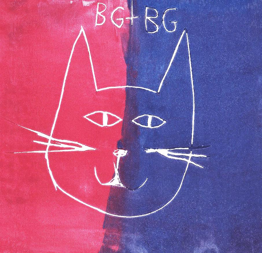 Zīmējumā ir attēlots kaķa portrets. Fons sastāv no divām krāsām - tumši rozā un zilas.