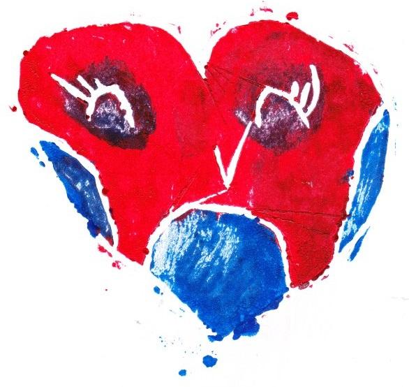 Zīmējumā ir attēlota sarkana sirds ar acīm, degunu un muti.
