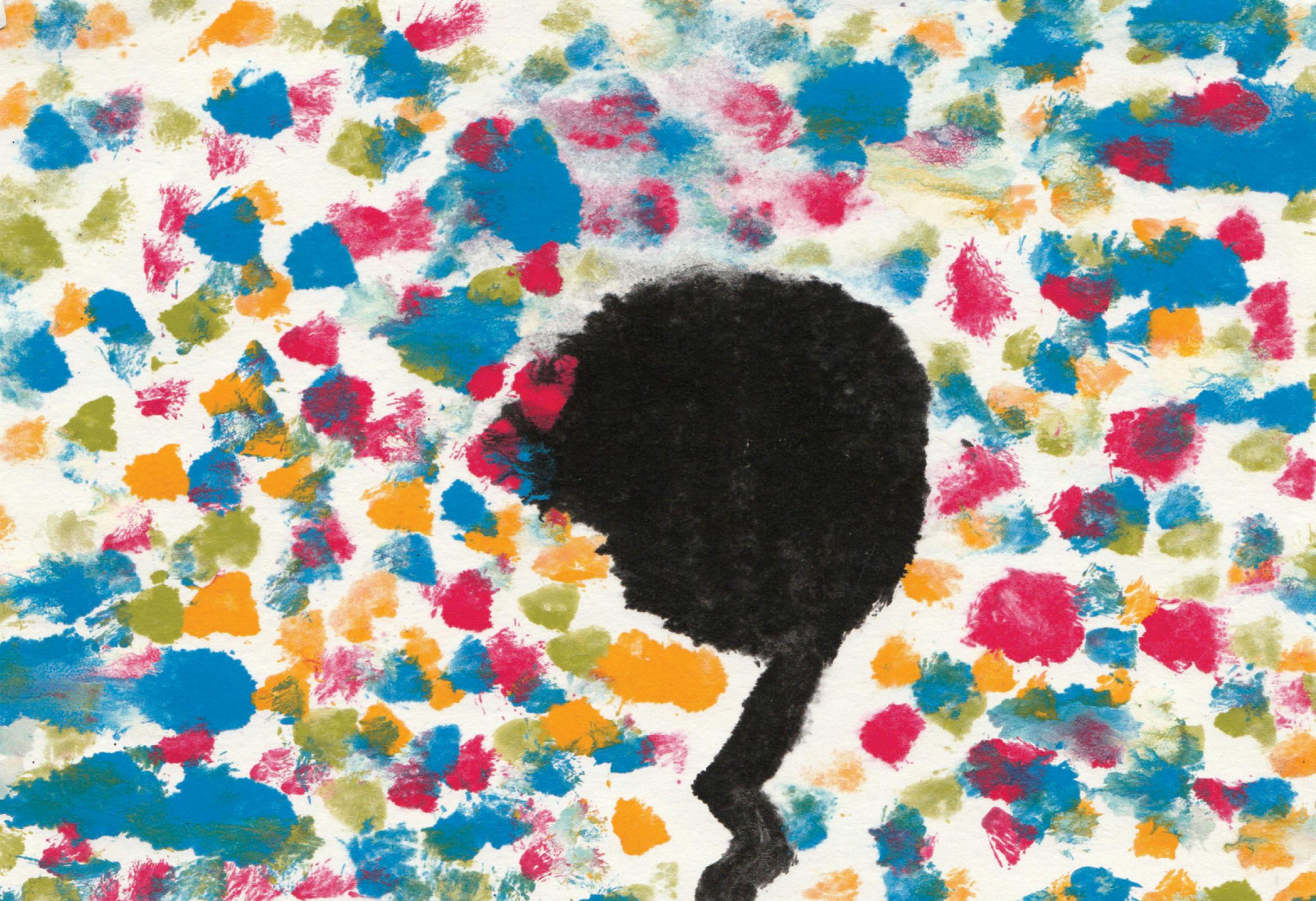 Zīmējuma priekšplānā ir attēlots koka siluets, Fons ir raibs.