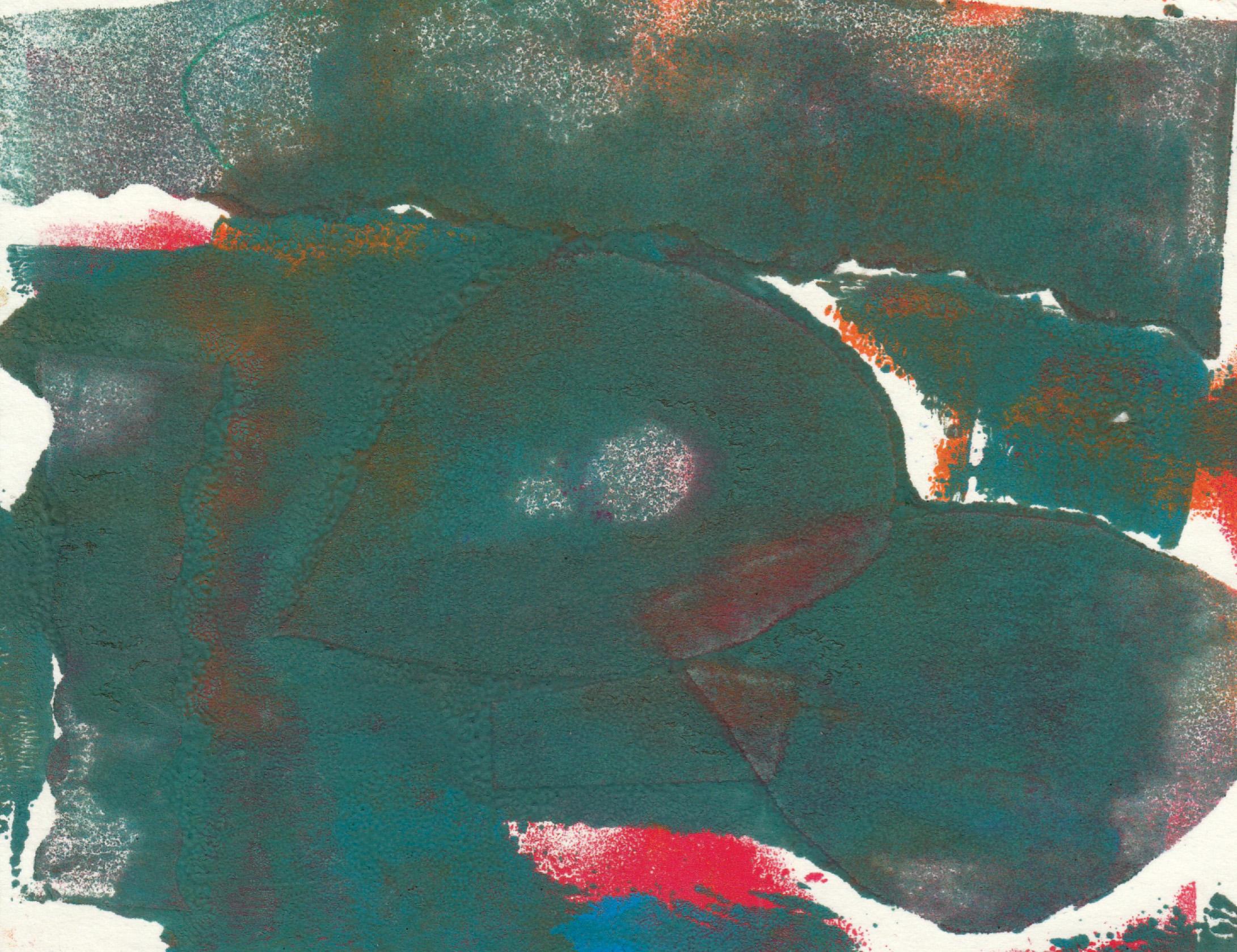 Krāsu un objektu miksējums. Zīmējums ir abstrakts.