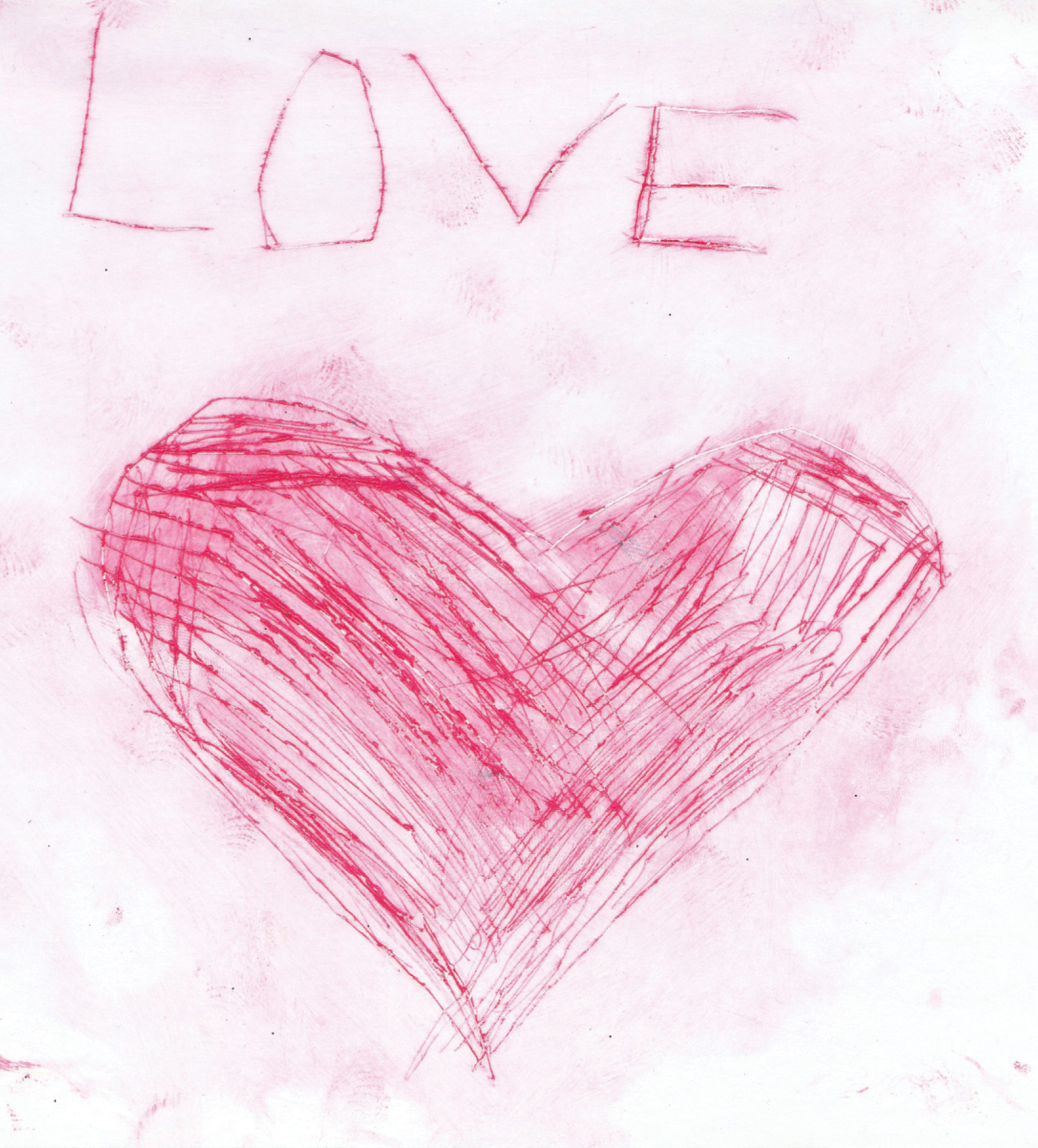 Zīmējumā ir attēlota sirds rozā krāsā un teksts LOVE. Zīmējums ir krāsains.