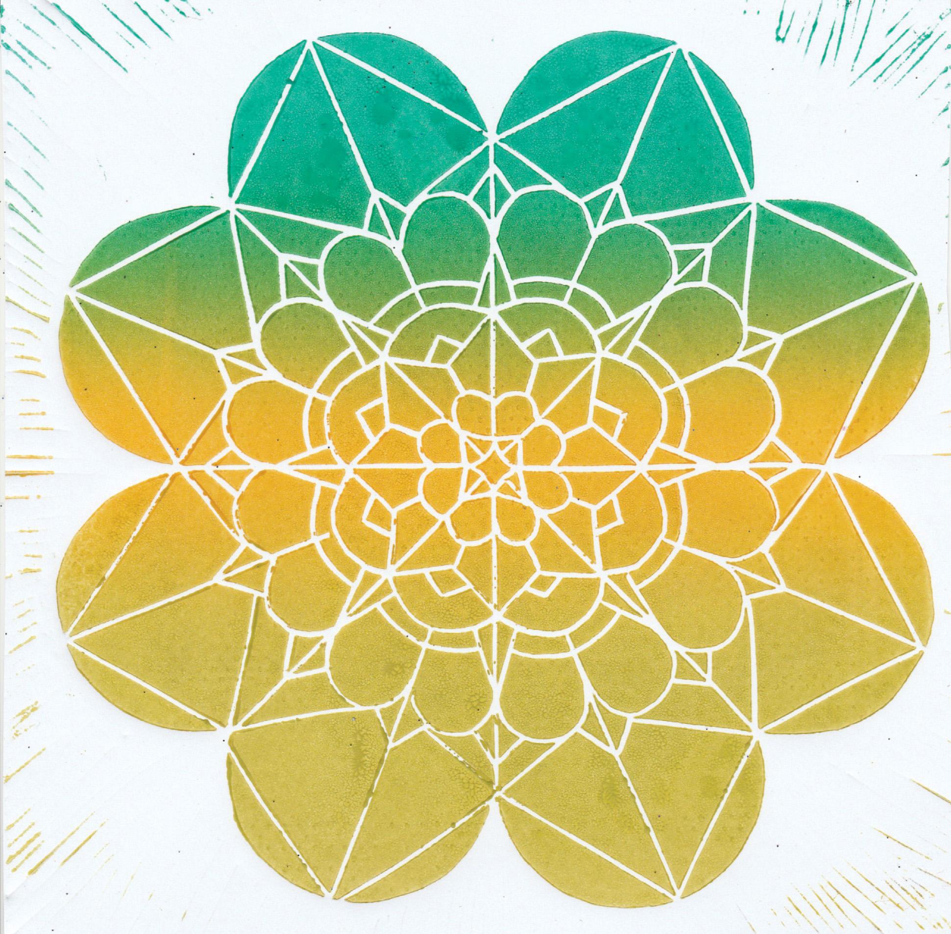 Zīmējumā ir attēlota mandala.