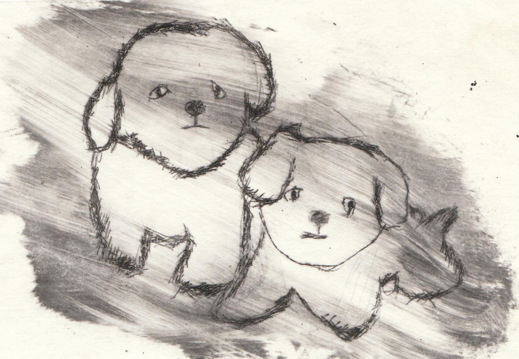 Zīmējumā attēloti divi mazi sunīši vējā. Zīmējums ir melnbalts.