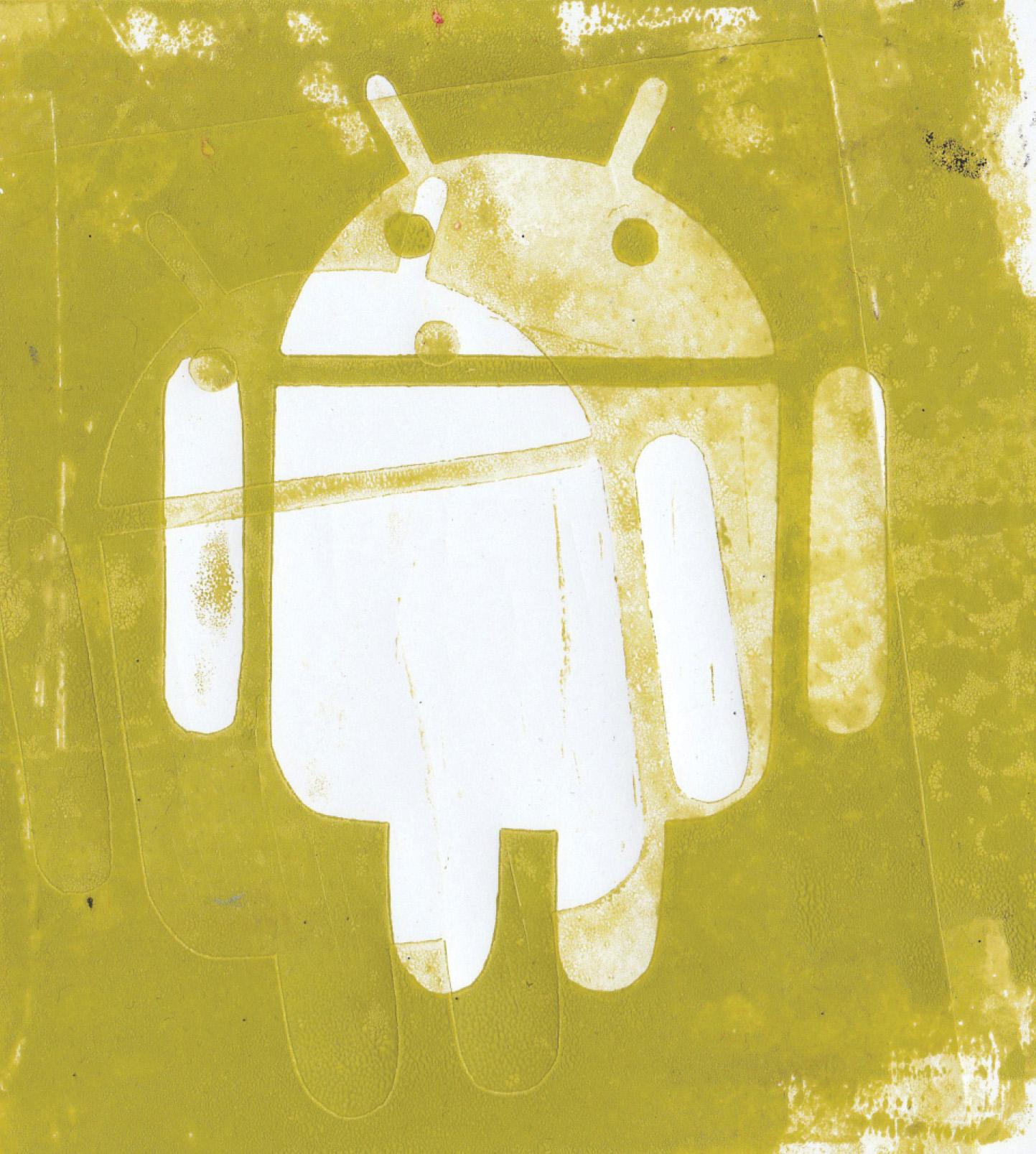 Zīmējumā ir attēlots android logo. Logo ir balts, fons ir gaiši zaļš.
