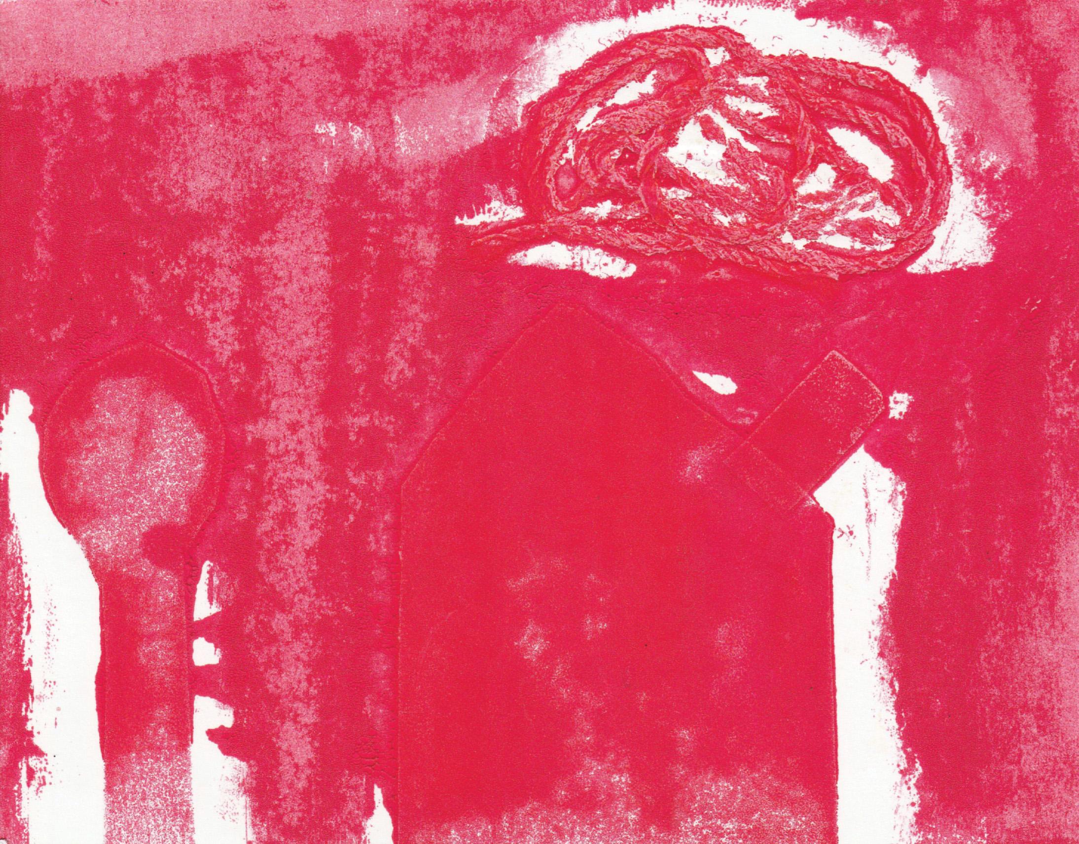 Zīmējumā ir attēlota māja, mākonis, koks. Pamatkrāsa ir tumši rozā. Zīmējums ir abstrakts.