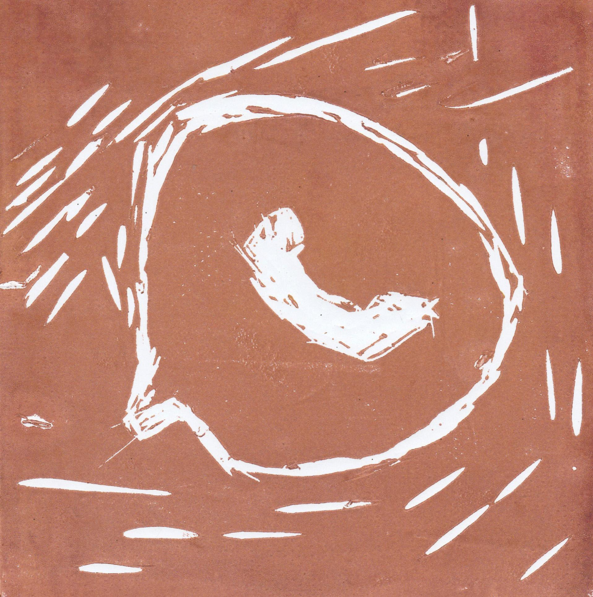 Zīmējumā ir attēlots Whatsapp logo interpretācija. Logo ir balts, fons ir brūns.