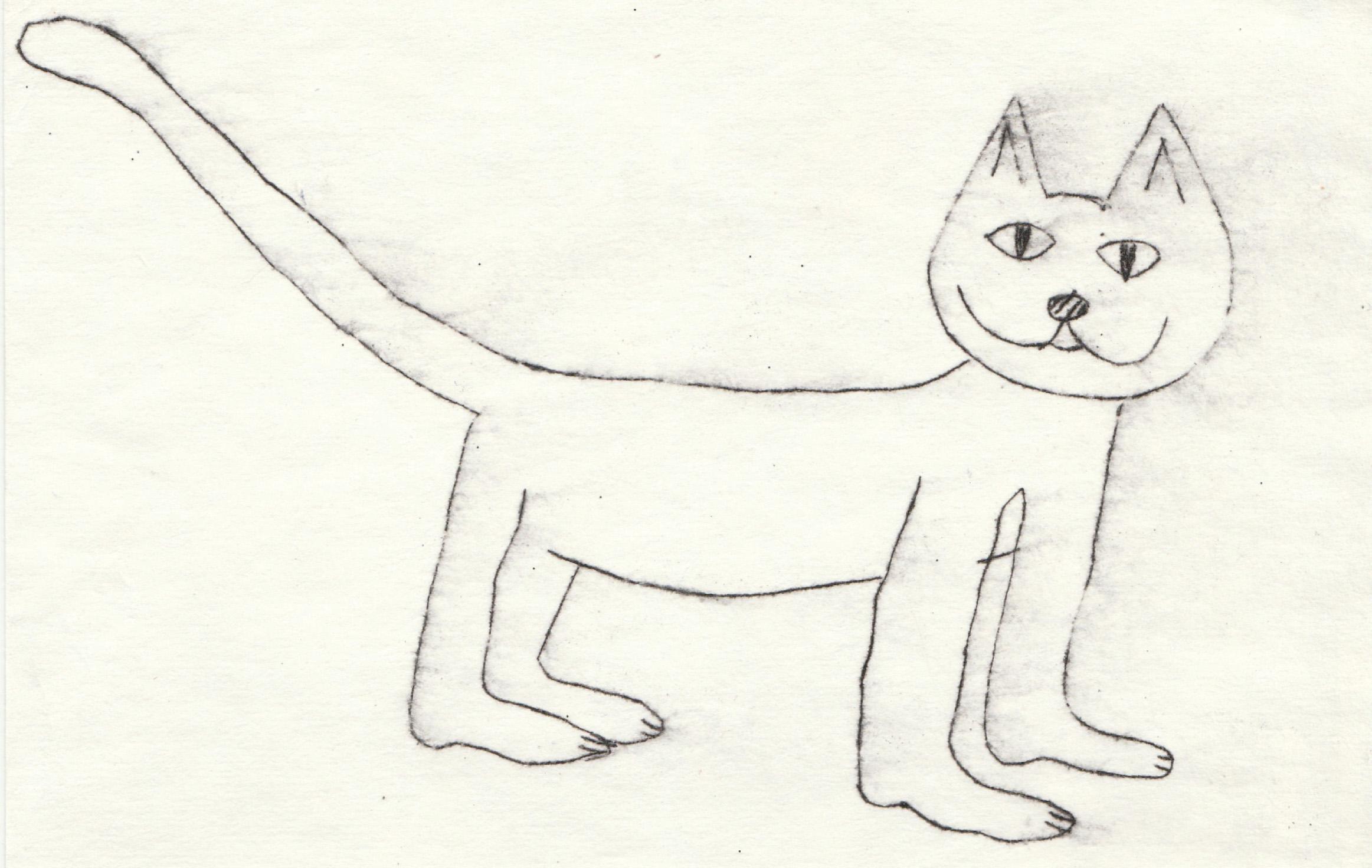 Ar melnu līniju zīmēts kaķis. Zīmējums ir lineārs, melnbalts.
