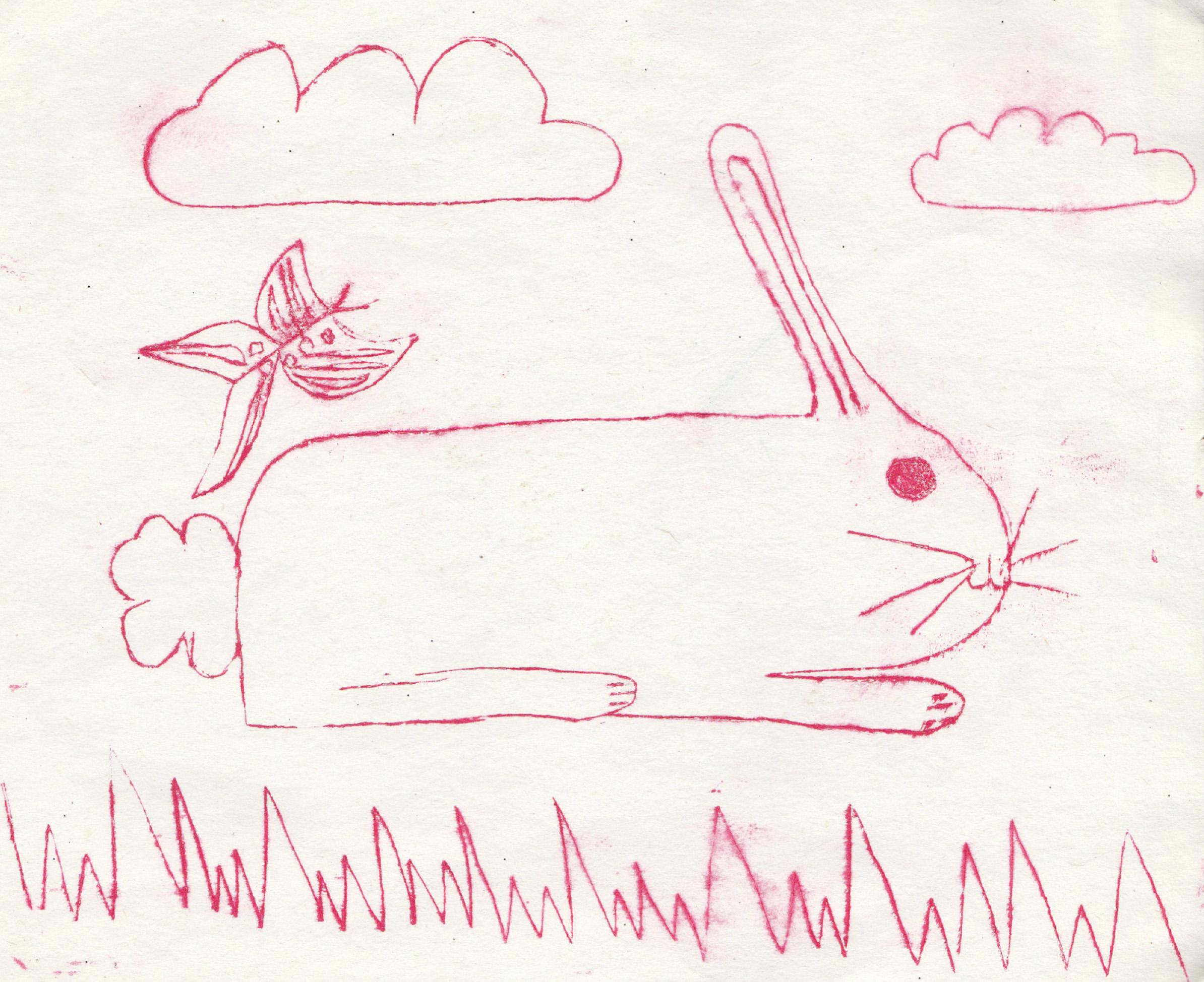 Zīmējumā ir attēlots zaķis, kas guļ zālītē. Virs zaķiša lidinās taurenītis. Debesīs ir divi mākonīši. Zīmējums ir lineārs, krāsains.