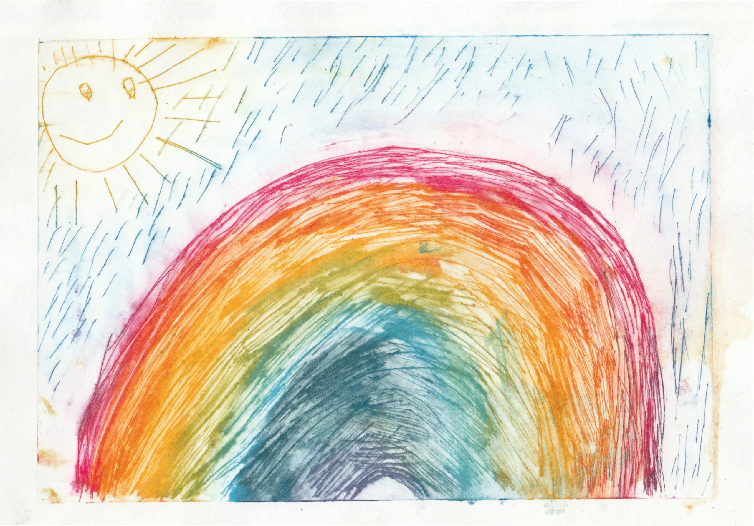 Zīmējumā ir attēlota varavīksne, saule un lietus. Zīmējums ir krāsains.
